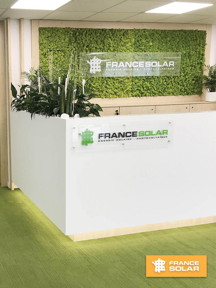 France Solar 2020 : France Solar : Diminuer vos factures énergétiques grâce à nos solutions (Photo prise le 09 Mars 2020)