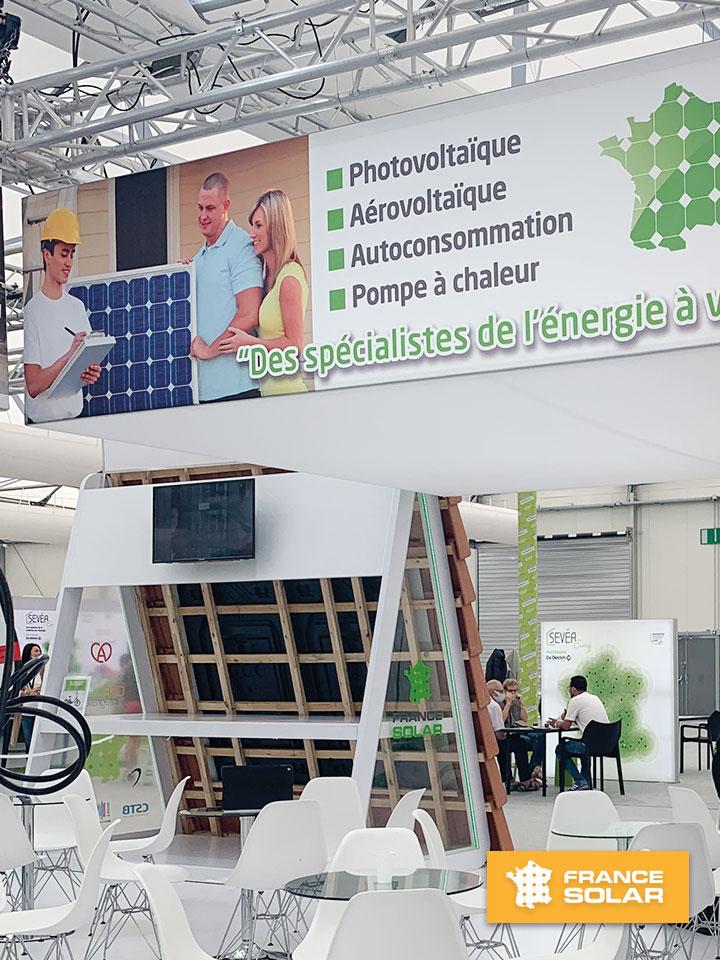 Foire Strasbourg 2020 : Photo du Stand de France Solar à la Foire Européenne de Strasbourg le Jeudi 10 Septembre 2020 (Photo prise le 10 Septembre 2020)